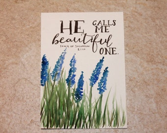 Bible Verse Mixed Media Painting Song of Solomon 2:10 'He calls me beautiful one.'