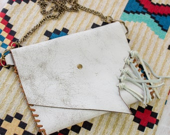 Leather Chain Bag, White Crossbody, Small shoulder bag for women in beach bohemian style