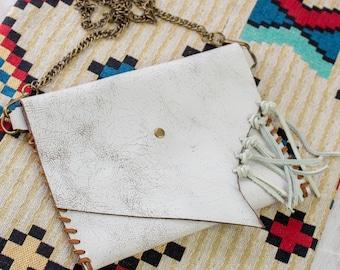 Leder Kette, weiß Crossbody, kleine Schultertasche für Frauen in Strand böhmischen Stil