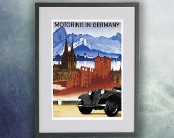 Vintage Travel Poster, Motoring in Germany  - Print Unframed