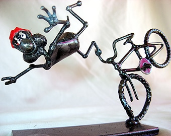 Crashing Cycling Hand Sculpted Steel Mouse Sculpture