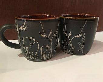 Two Elephant Sri Lanka Mugs, Brown Mugs