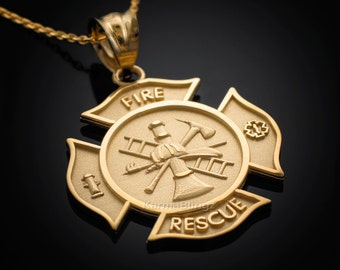 Gold Fire Department Firefighter Fire Rescue Maltese Cross Badge Pendant Necklace (yellow, white, rose gold)