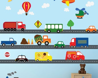 Cars Construction Airplanes Transportation Decal, REUSABLE Decals Non-toxic Fabric Wall Decals for Kids, A226