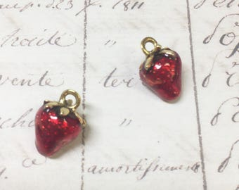 5pcs Puffy Strawberry Red/Gold charm,  10x15mm,