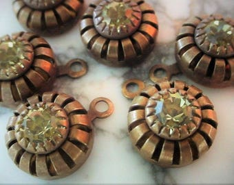 Lot Vintage 10mm Swarovski Crystal Jonquil Rhinestone Round Tan Natural Patina Brass Crown Bead Drops Charms 29ss 6mm Jewelry Finding 13D
