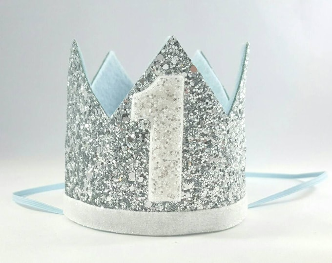 Birthday Crown || Blue and Silver Birthday || Silver Crown || Birthday Girl || First Birthday || Baby Crown || Birthday