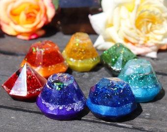 Orgonite® - 7 Pc Chakra Set - Handmade - Rainbow - Orgone Generator® - Crystals - Gift - EMF Protection - Quartz - HoodXHippie