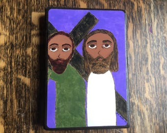 4 X 6 inch-ish Simon of Cyrene carries the Cross of Jesus Byzantine Folk style icon on wood by DL Sayles