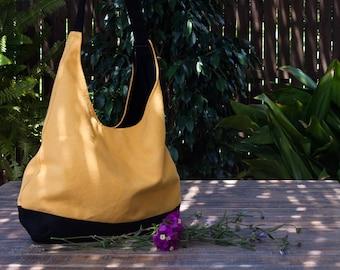 Bolso hobo amarillo. Bolso de hombro. Bolso amarillo y negro. Bolso mujer. Bolso de tela. Bolso hobo. Bolso de loneta