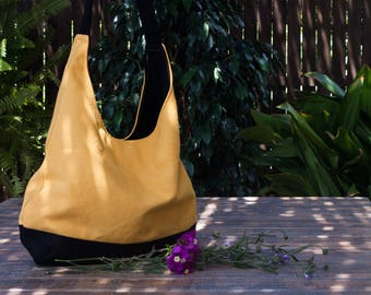 Shoulder hobo bag. Yellow hobo bag purse. Slouch canvas bag. Yellow hobo bag.  Hobo canvas bag. Summer hobo bag