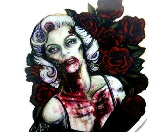 "Zombie Marilyn, vinyl sticker, 3 ""x 3"" sticker, set of stickers, marilyn monroe, fan art, goth, zombie sticker, zombie girl, punk, boho"