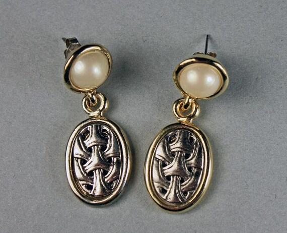 Faux Pearl Earrings, Silvertone, Goldtone, Post Earrings, Drop Earrings