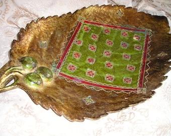 Vintage Unique Italian Florentine Leaf/Cherries Hand Carved Footed Gilt Display Tray.Rare Design.Glam.