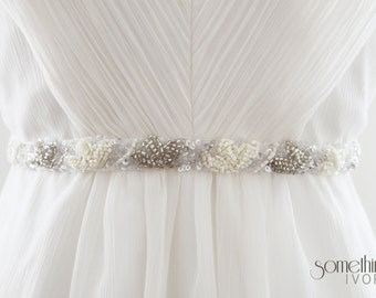 CARA - Beaded Bridal Sash, Bridal Belt
