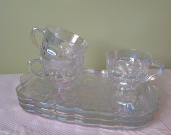 """Set """"patio snack"""" Federal Carnival Glass iridescent glass / / 3 trays and cups - lunch and snack / / made in the United States"""