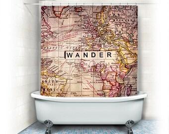 Wanderlust fabric shower curtain world wander fabric shower curtain wander world maptypographytexthome decor gumiabroncs Image collections