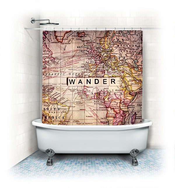 Wander fabric shower curtain wander world zoom gumiabroncs Images