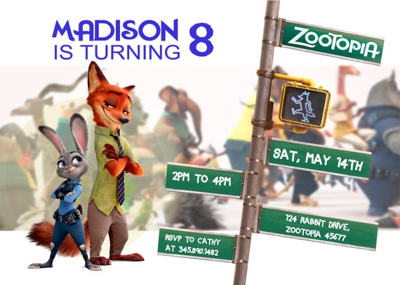 Zootopia Invitation - Zootopia - Zootopia Invite - Zootopia Birthday - Zoo Invitation - Zoo Invite - Animal Invitation - Animal Invite