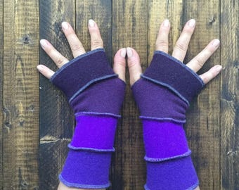 Bright Purple Fingerless Gloves Made from Recycled Sweaters