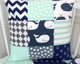 Nautical Pillow Cover, Cushion Cover, Nursery Decor, Throw Pillows, Pillow, Whale, Anchor, 18 x 18, Navy Blue Mint Green Grey Gray White