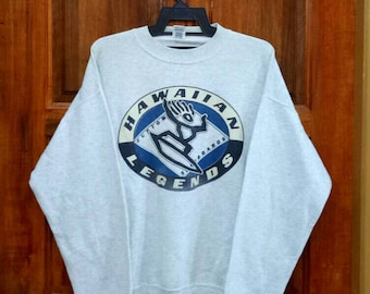 Rare!! Vintage HAWAIIAN LAGENDS custom surfboards sweatshirt pullover jumper crew neck spellout nice design grey colour large size