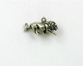 Sterling Silver 3-D Lion Charm