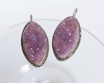 Vintage metal hook earrings, with Amethyst gemstones