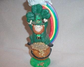 Vintage Ceramic Leprechaun St Patricks Day March Irish Figurine Statue