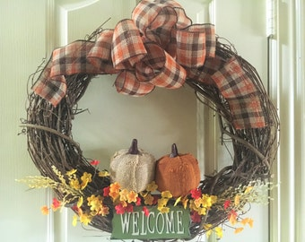 "21"" Wooden Fall Wreath"