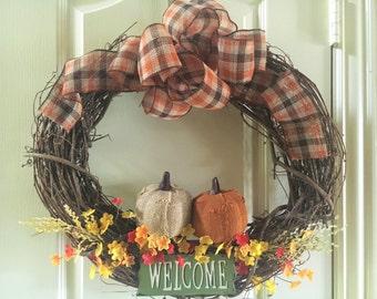 "21"" Wooden Fall Wreath"
