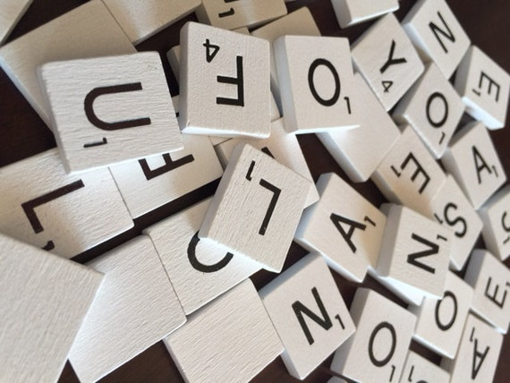 scrabble tiles wooden white set of 200 complete set lot scrap