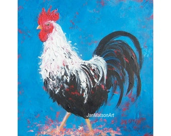 Rooster painting, kitchen rooster art, cafe painting, country cottage art, rooster decor, animal art, rooster pictures, Jan Matson