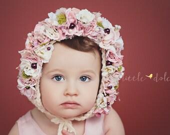 Flower Bonnet, Baby hat, Baby Photo Prop, Newborn Photo Prop, Knit Baby Bonnet, Baby Girl Hat, Baby Hat, Knit Baby Hat, Floral bonnet