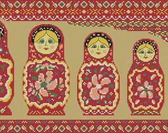 Matryoshka cross stitch pattern: Russian Dolls