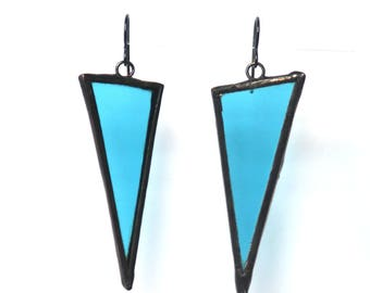 Triangle Earring - Stained Glass Earrings - Geometric Earrings- Turquoise Earrings