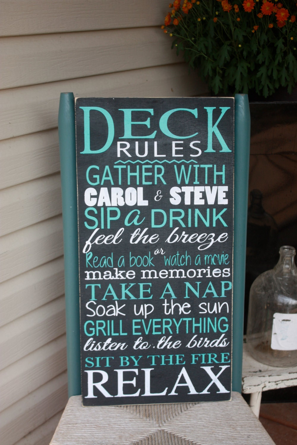 Fresh Deck sign, Outdoor decor, Deck Rules wooden sign, personalized  HS05
