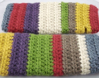 Multi-Colored Mohair Feel Striped Crocheted Arm Warmers (size M-L) (SWG-AW-MJ01)