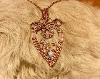 Copper Wire Heart With Moonstone