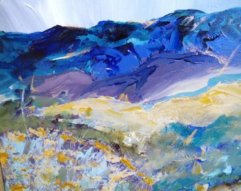 New Mexico Landscape, Mountains, Terrain of Summer in Santa Fe - acrylic painting