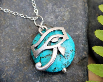 Eye of Horus amulet & turquoise stone necklace - pewter Egyptian protection charm on sterling silver delicate chain - free shipping USA