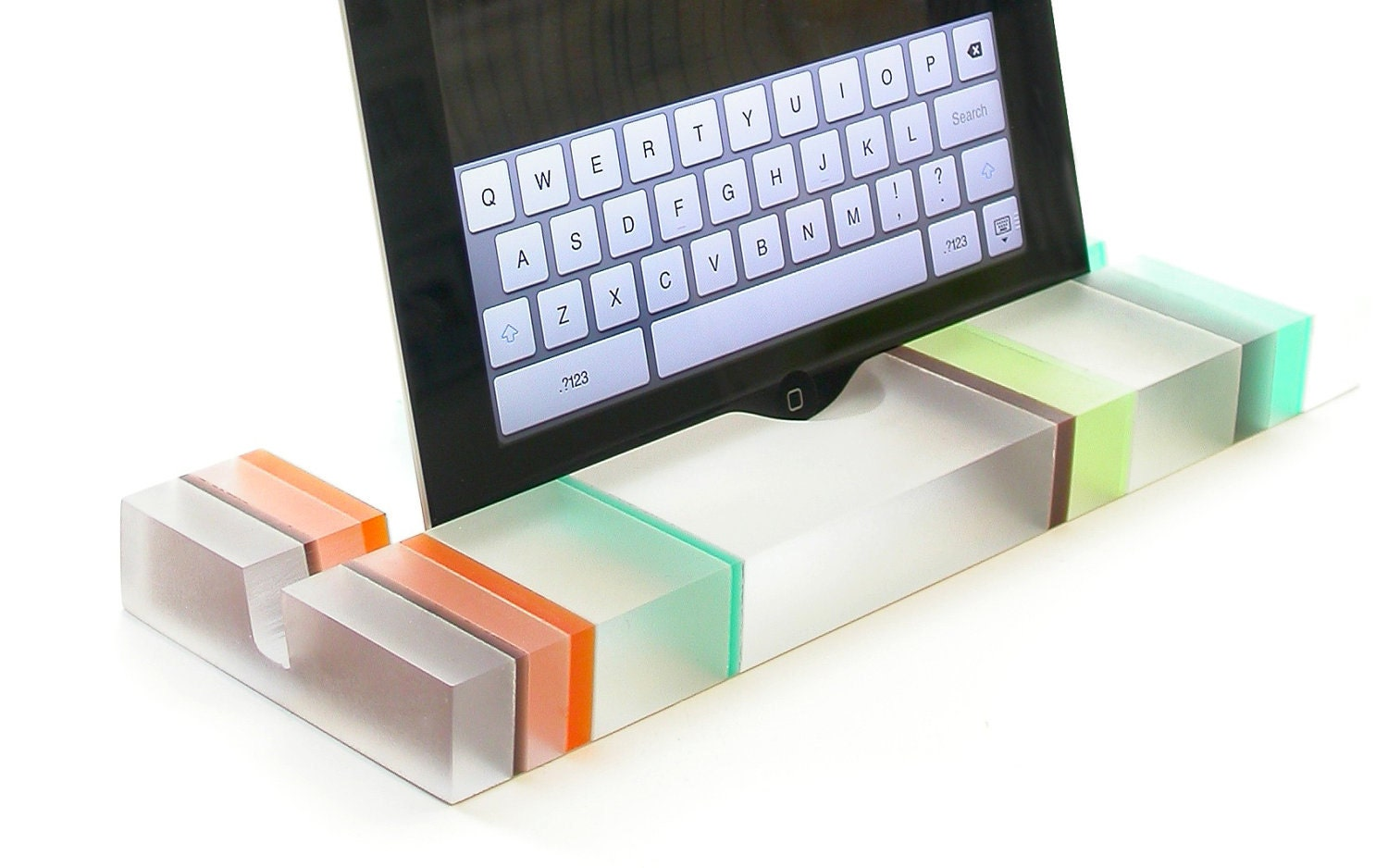 Sophisticated Striped Groove Resin iPad Stand, Tablet Stand, Mobile Device Stand-Summer Stripes, Colorful Modern Minimalism At It's Best