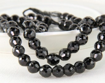 Black Spinel Rondelles Micro Faceted, Black Gemstones,  Your Choice of 1/16, 1/8 or 1/4 inch Strand, 6.5mm to 6.8mm KJ
