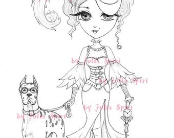 Digital stamps, Steampunk Digi, Lady, Metal, Gear, Iron, Fairy, Mechanic, Dog, Coloring pages, Vintage, Crafting Cardmaking. Steampunk Lady