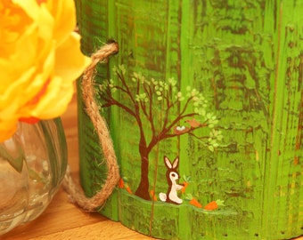 Custom for Kim 7 inch picket bucket in green with Bunny tree and carrots