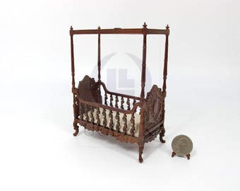 "1:12 Scale Miniature The ""Berit"" 4 Poster Crib For Doll House [Finished in walnut]"