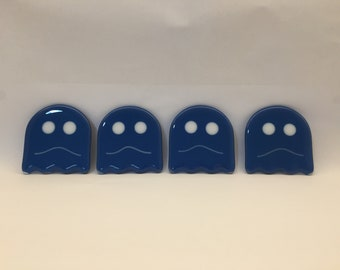 Fused glass Pac-Man ghost coasters - pac man dazed ghosts