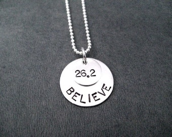 26.2 BELIEVE in the MARATHON Sterling Silver Necklace - Choose 16, 18 or 20 inch Sterling Silver Ball Chain - Marathon Necklace Run Jewelry