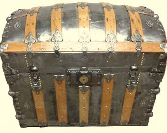 Antique Camel Back Silver Restored Trunk
