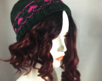 Easy Knit Hat With Hearts Downloadable Pattern